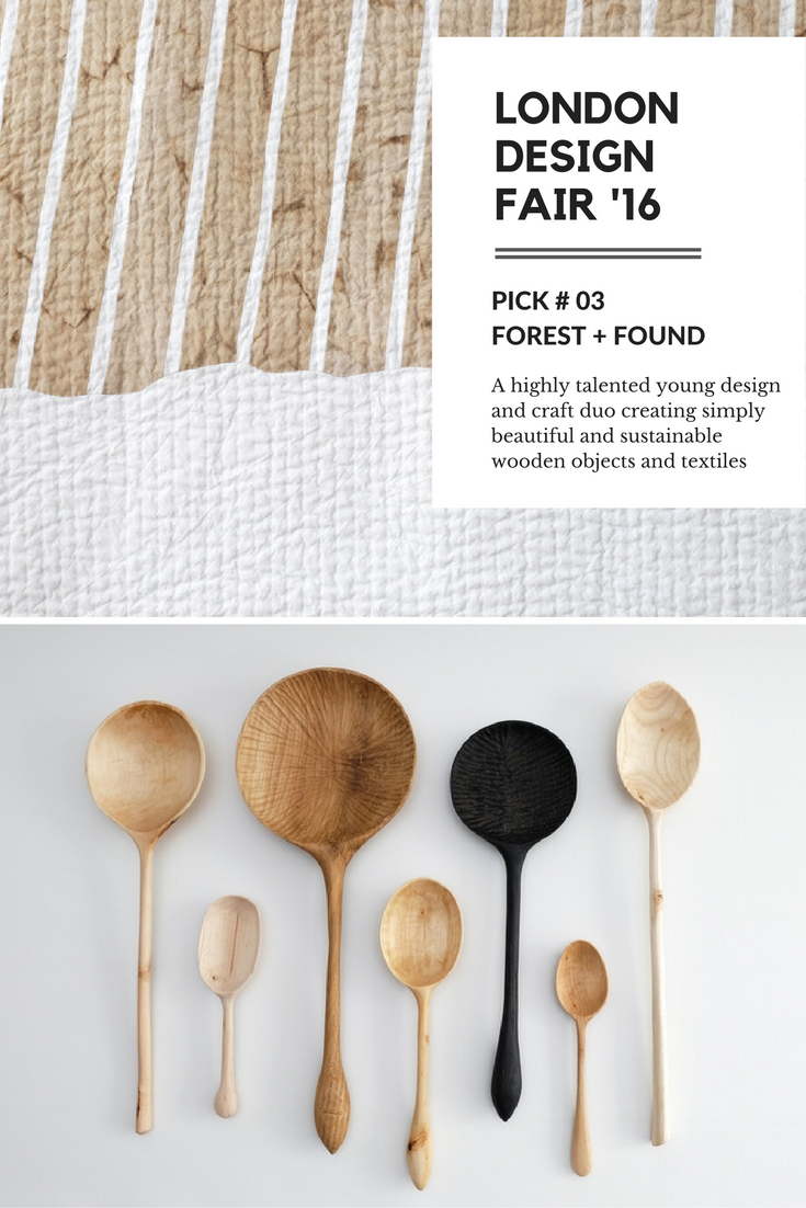forest and found wooden objects and textiles