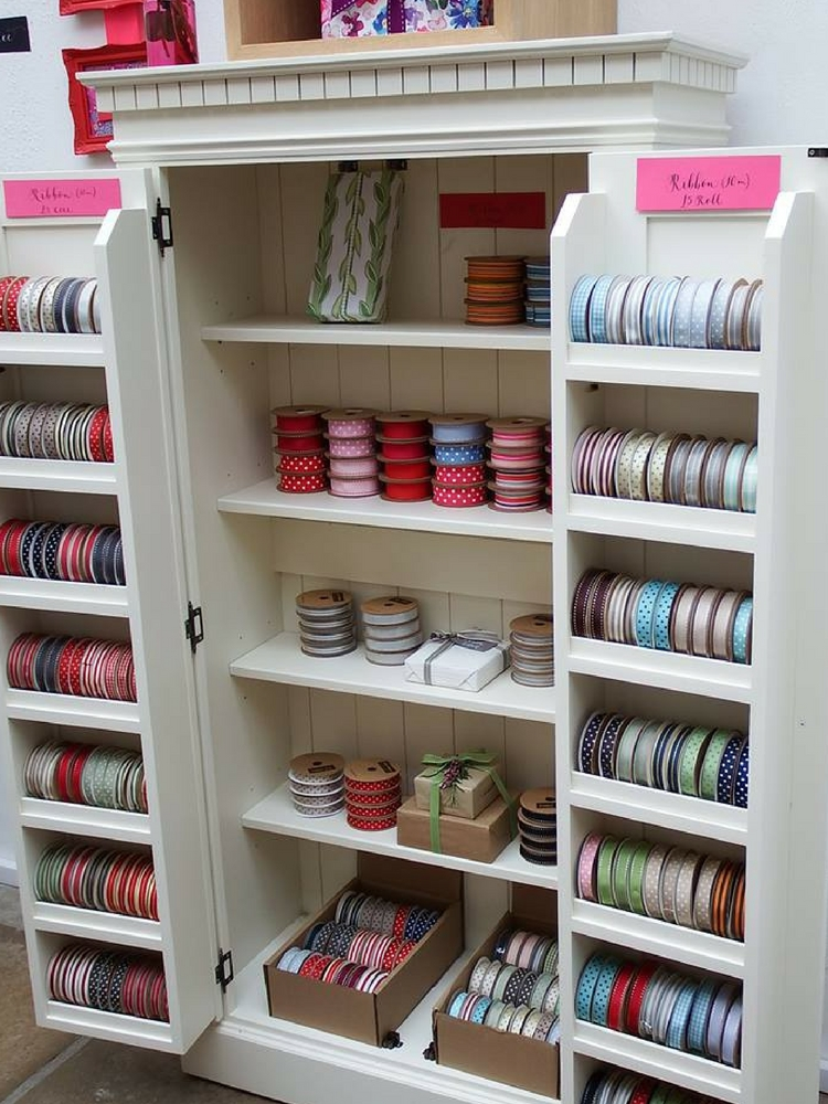 Jane Means ribbons in shop Clifton Nurseries