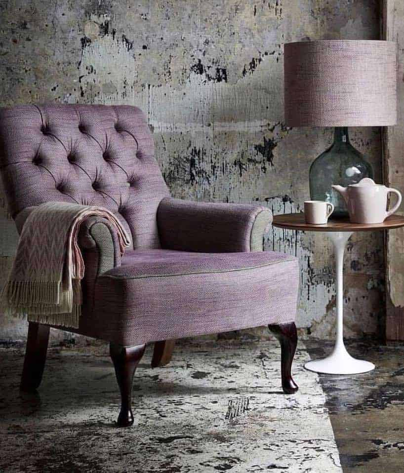 love this perth mauve linen covered chair by ian mankin. Click through to get easy step by step DIY tutorial on how to upholster or upcyle your own chair and to find out more about this ethically produced fabric made in Britain as well as other beautiful fabrics you'll love