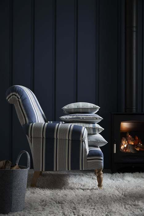 love this vanessa arbuthnott armchair french ticking blue linen fabric. Click through to get easy step by step DIY tutorial on how to upholster or upcyle your own chair and to find out more about this ethically produced fabric made in Britain as well as other beautiful fabrics you'll love