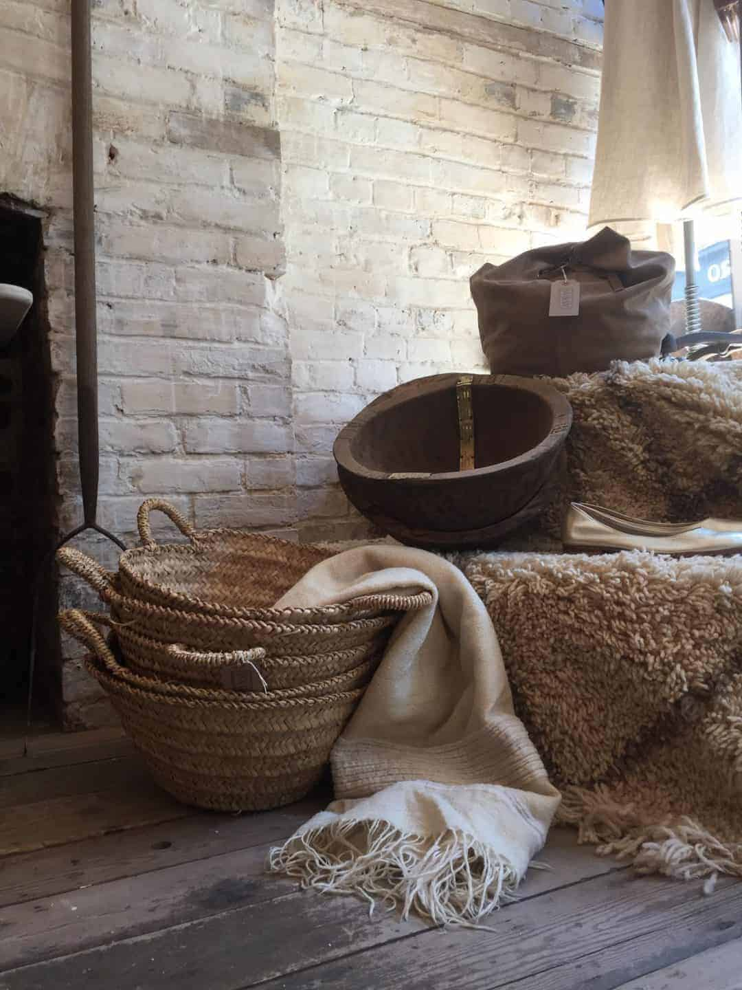 love these rustic baskets, large rustic wooden bowls and vessets at Warp and Weft Hastings