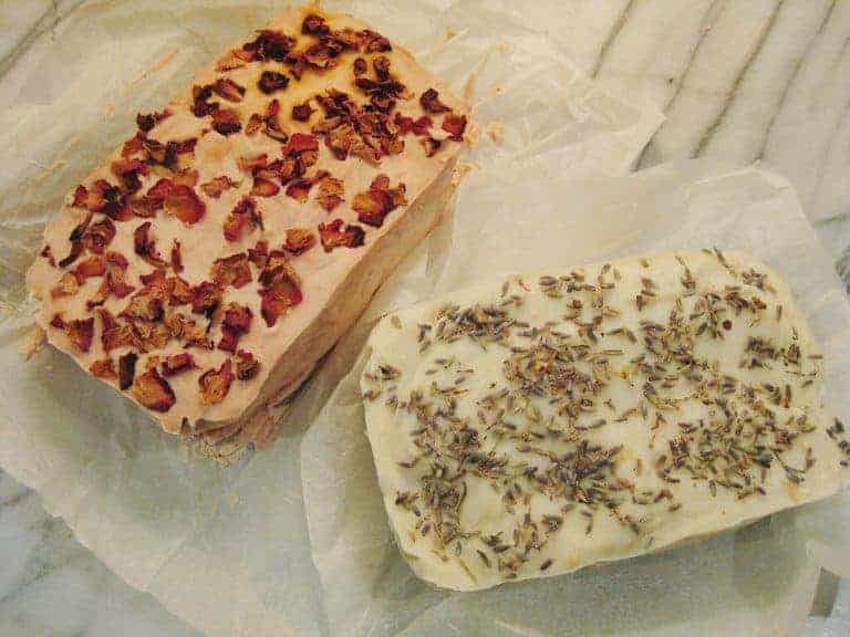 how to make natural soap - rose and lavender soaps ready to slice