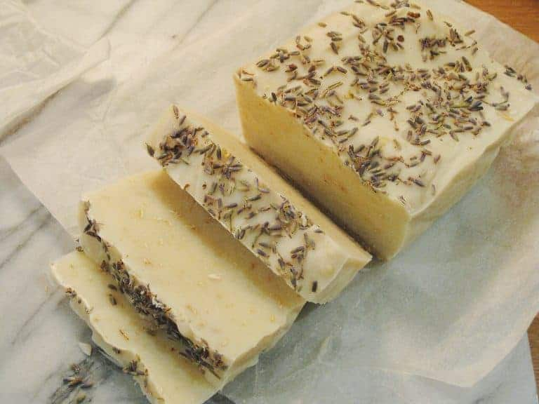 how to make lavender soap - slice the cured soap