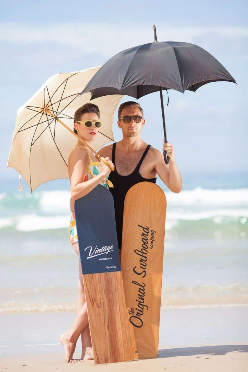 love these vintage style surfboards with 50s sunglasses and vintage bathing costumes from the original surfboard company