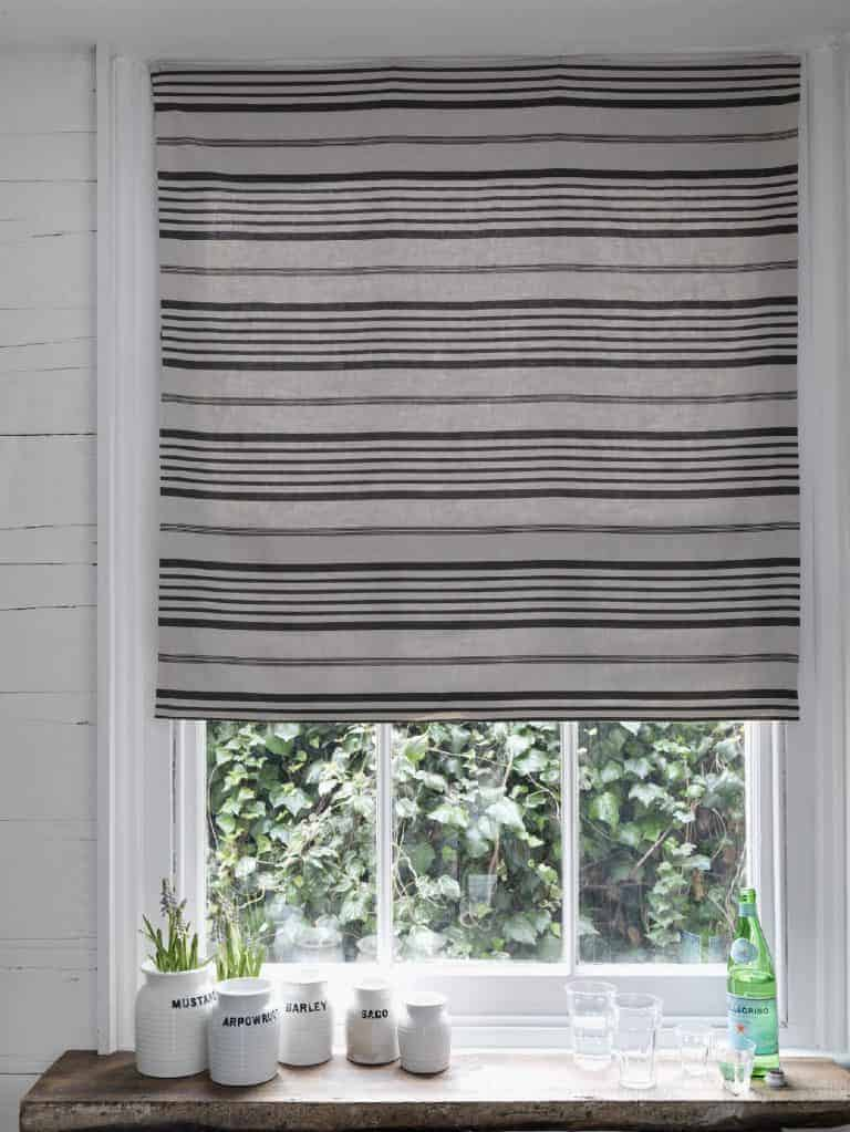 How to make a roman blind - love this natural linen with black charcoal grey stripe by Cabbages & Roses