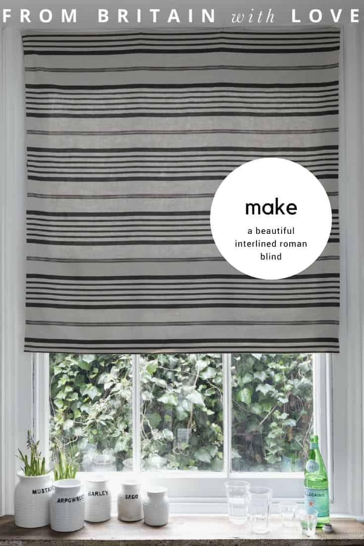 How to make a roman blind. I love this striped linen roman blind.. Click through to find out how to make an interlined roman blind. We show you how with easy step by steps to creating your own beautiful blind. Click through for some beautiful fabric ideas too...