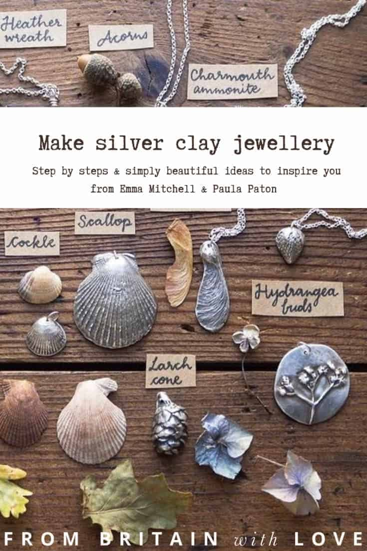 silver clay jewellery diy tutorial and creative ideas and workshops from emma mitchell and paula paton - it's a magical and easy way to craft your own beautiful silver jewellery moulded from botanical and natural finds as well or printed with embossed patterns #silverclay #jewellery #silver #clay #tutorial #diy