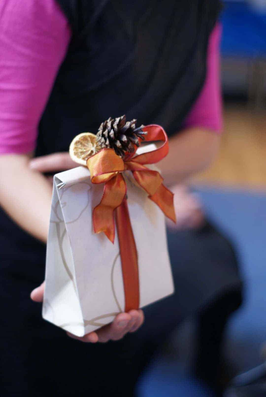 How to make a paper gift bag with orange ribbon, orange slice and pine cone with Jane Means