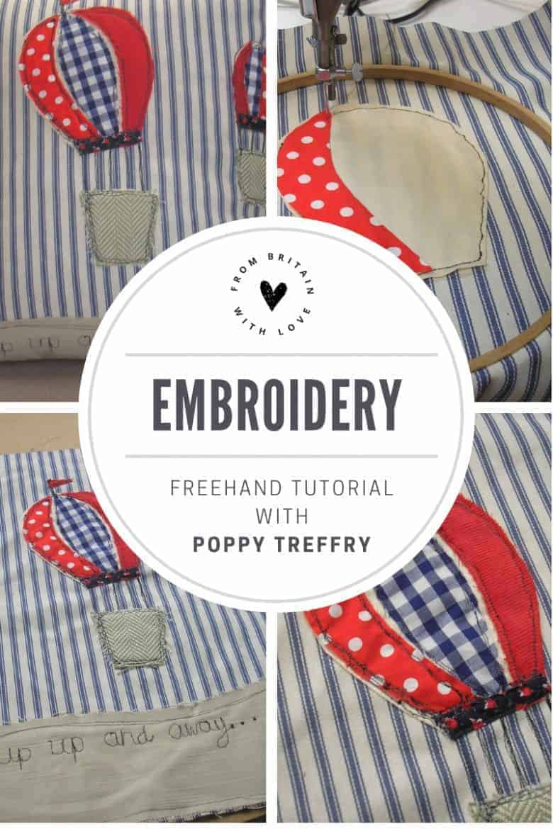 click through to see this wonderful freehand embroidery step by step tutorial with Poppy Treffry including a video that talks you through how to freehand embroider your own fabric craft projects #freehand #embroidery #poppytreffry #DIY #tutorial #sewing #howtosew #frombritainwithlove