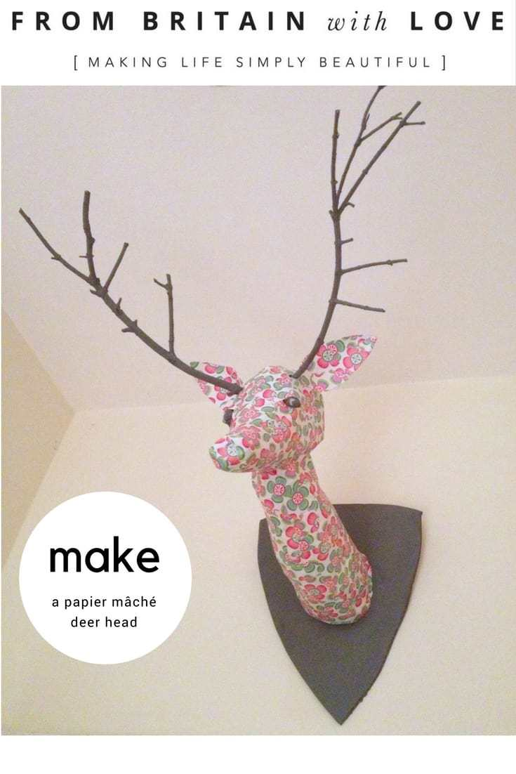 how to make a papier mache floral deer head with antlers
