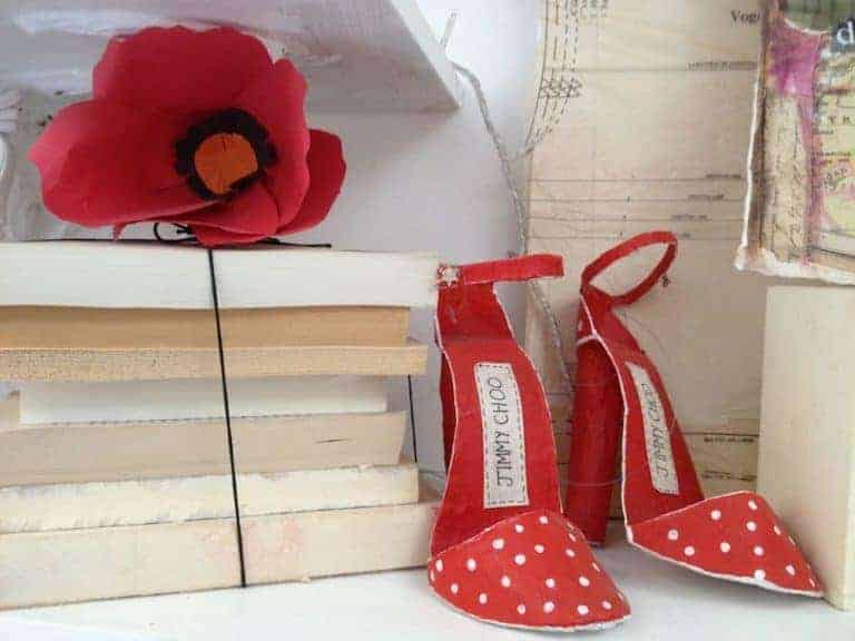 papier mache red dotty jimmy choo shoes