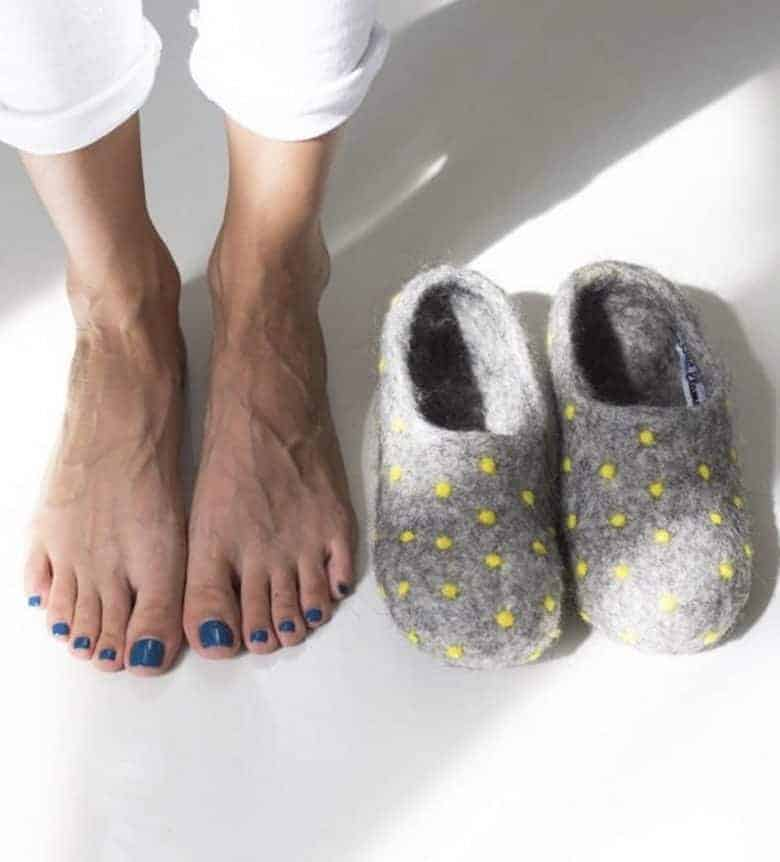 grey wool felted dotty felt slippers handmade using natural wool, soap and water and available to buy on Etsy UK #felt #felted #slippers #grey #dotty