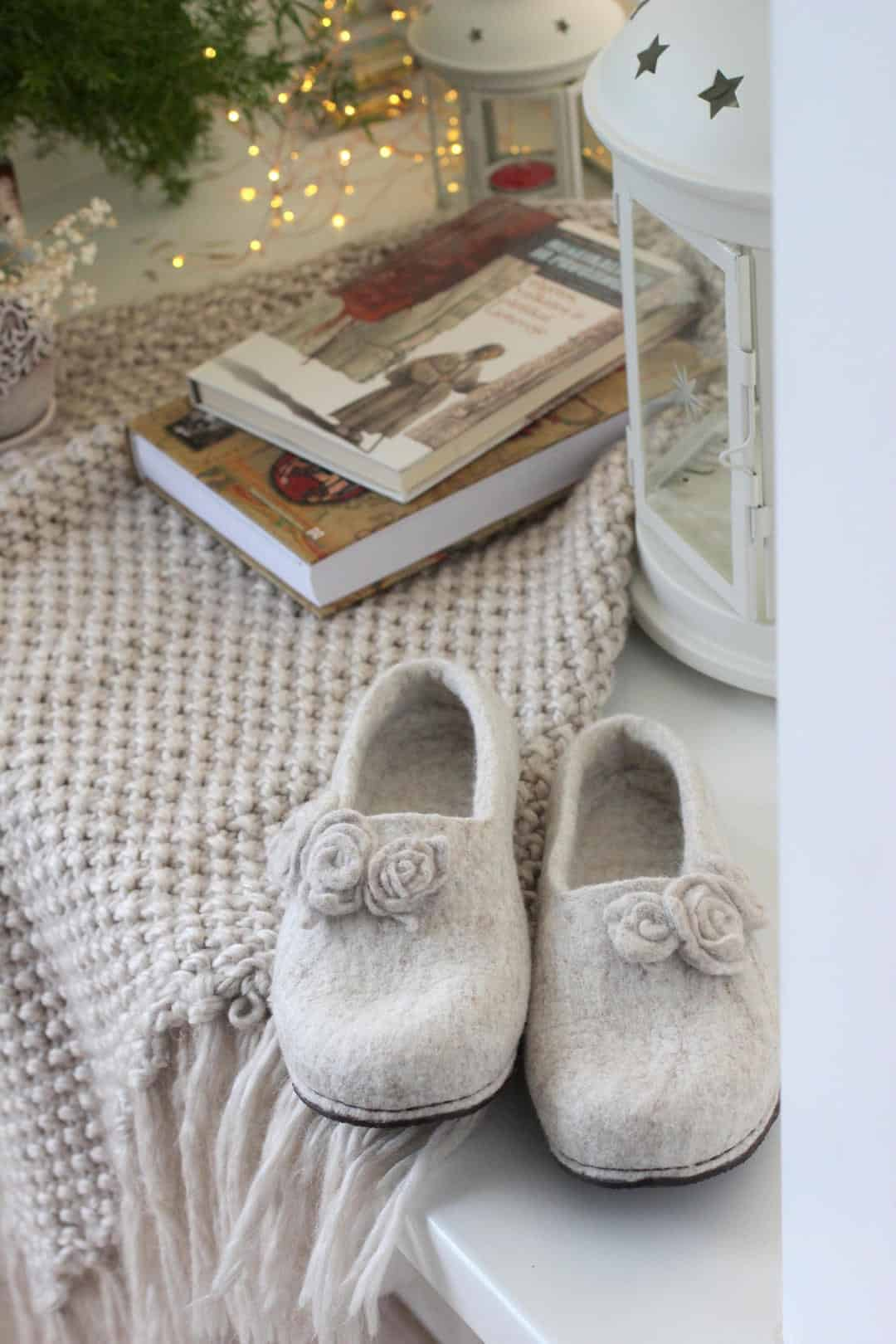 love these simple pale grey wool felt slippers with flowers.