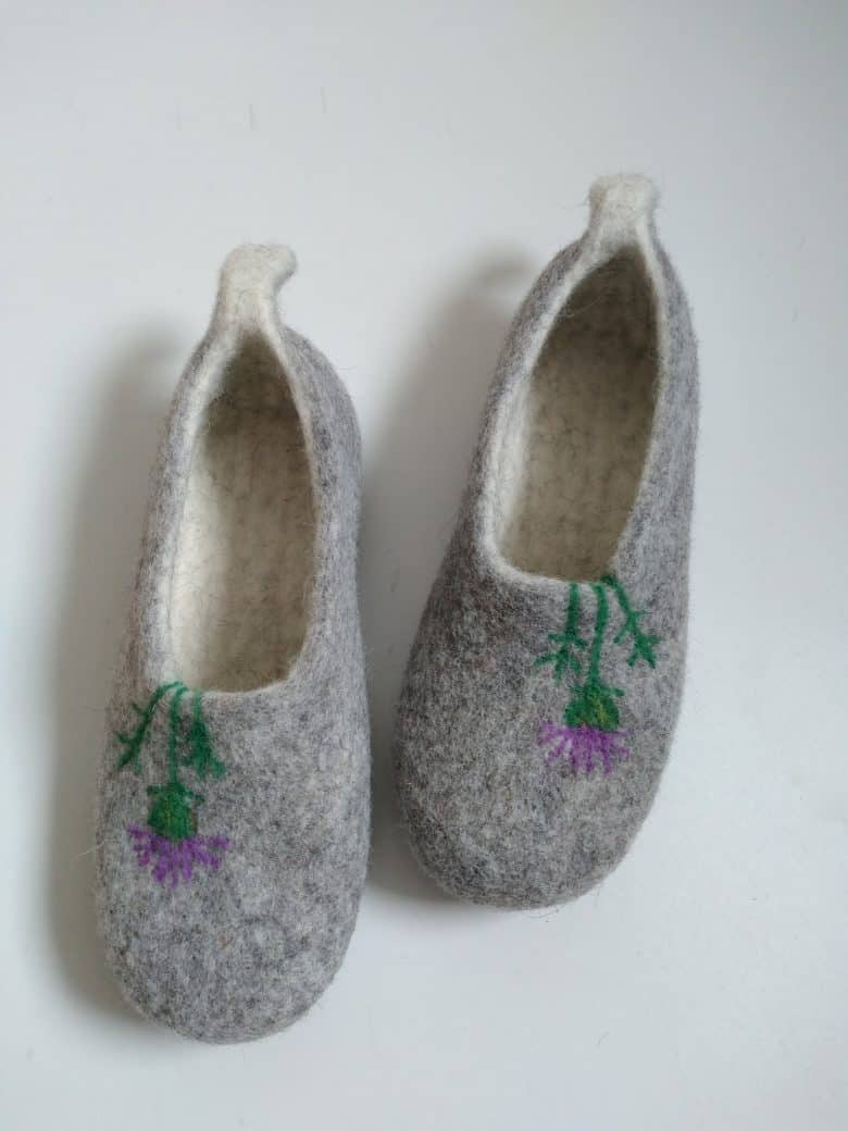 handmade grey wool felt slippers handmade in scotland with thistle embroidery design #madeinscotland #slippers #felt #felted #wool #grey #thistle