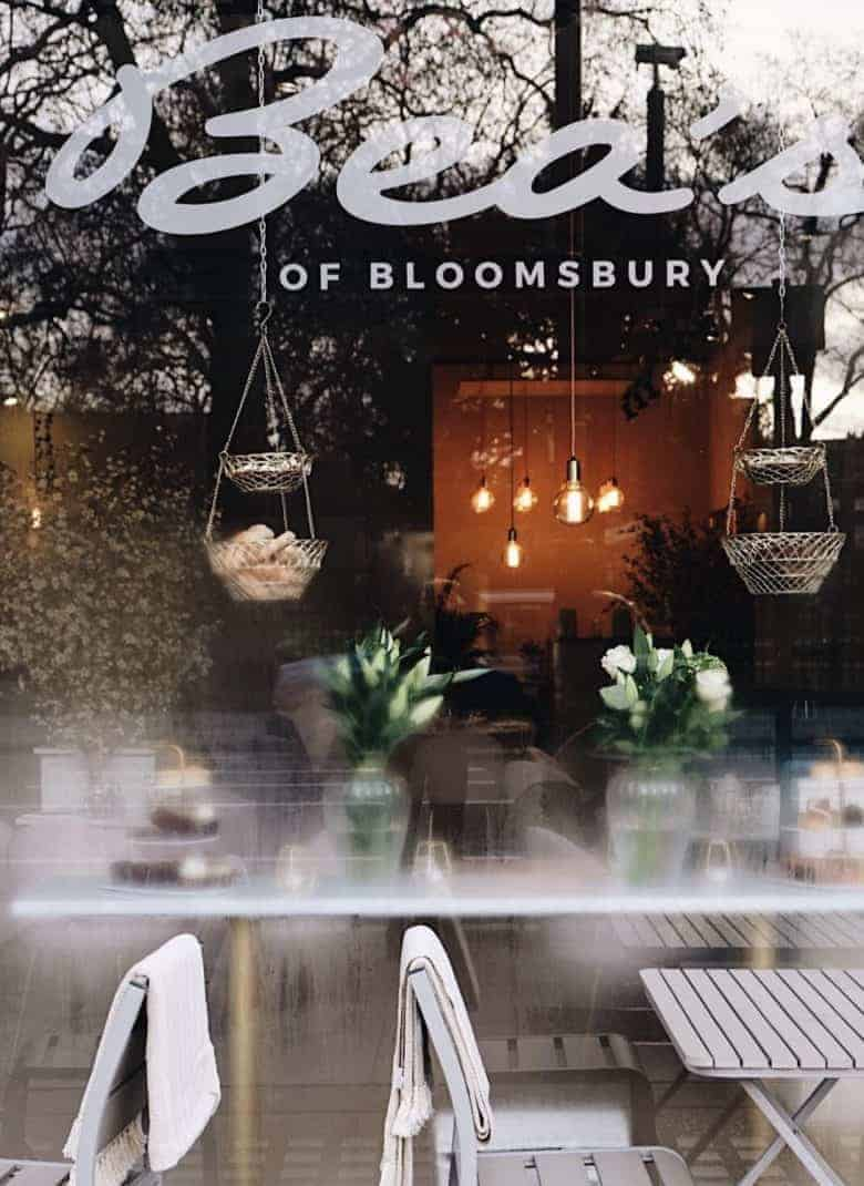 beas of bloomsbury cafe in london - a real england aesthetic and also one of the handpicked local favourites of ceramicist jo heckett whose studio in in this beautiful corner of London. Jo shares her favourite places to visit, cafes, local shops, green spaces and gardens perfect for soaking up the atmosphere of this historic corner of the capital #bloomsbury #london #englandaesthetic #afternoon #tea #local