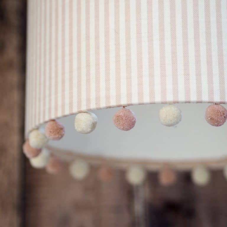 pom pom edged fabric drum lampshade