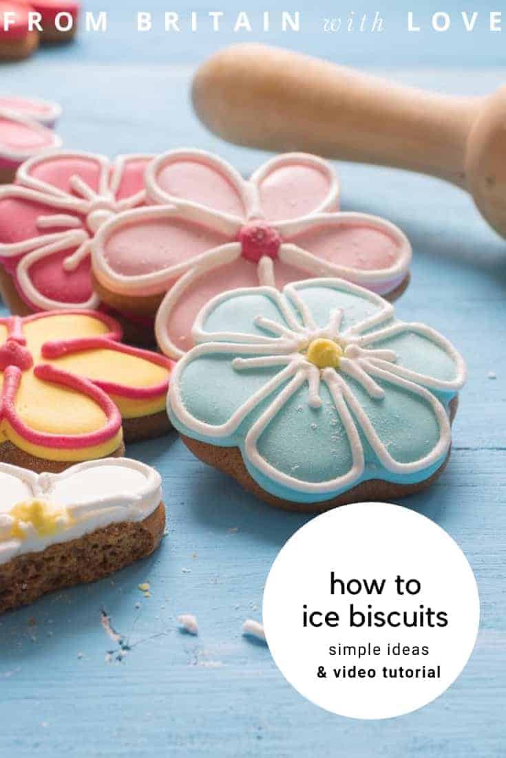icing for sugar cookies ideas and simple step by steps and video tutorial with the Biscuiteers #icing #cookies #biscuits #tutorial #flowers
