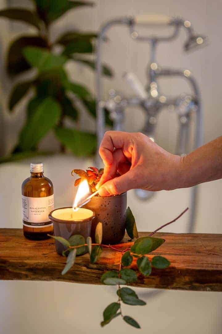 handmade mother's day gift ideas like this natural aromatherapy gift set with candle and bath oil by denys and fielding. Click through for more handmade gift ideas made in Britain by hand picked makers