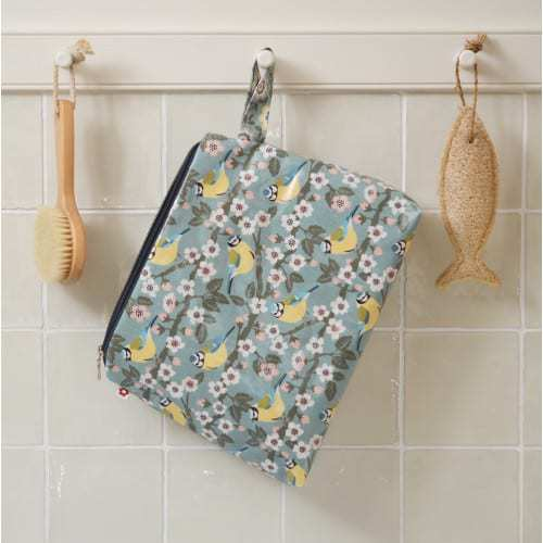 love this pretty bird design toiletry bag in oilcloth by Susie Faulks and made in England