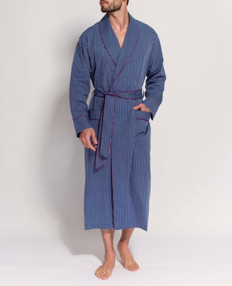 love this dark blue and grey stripe mens dressing gown in satin cotton made in england by british boxers