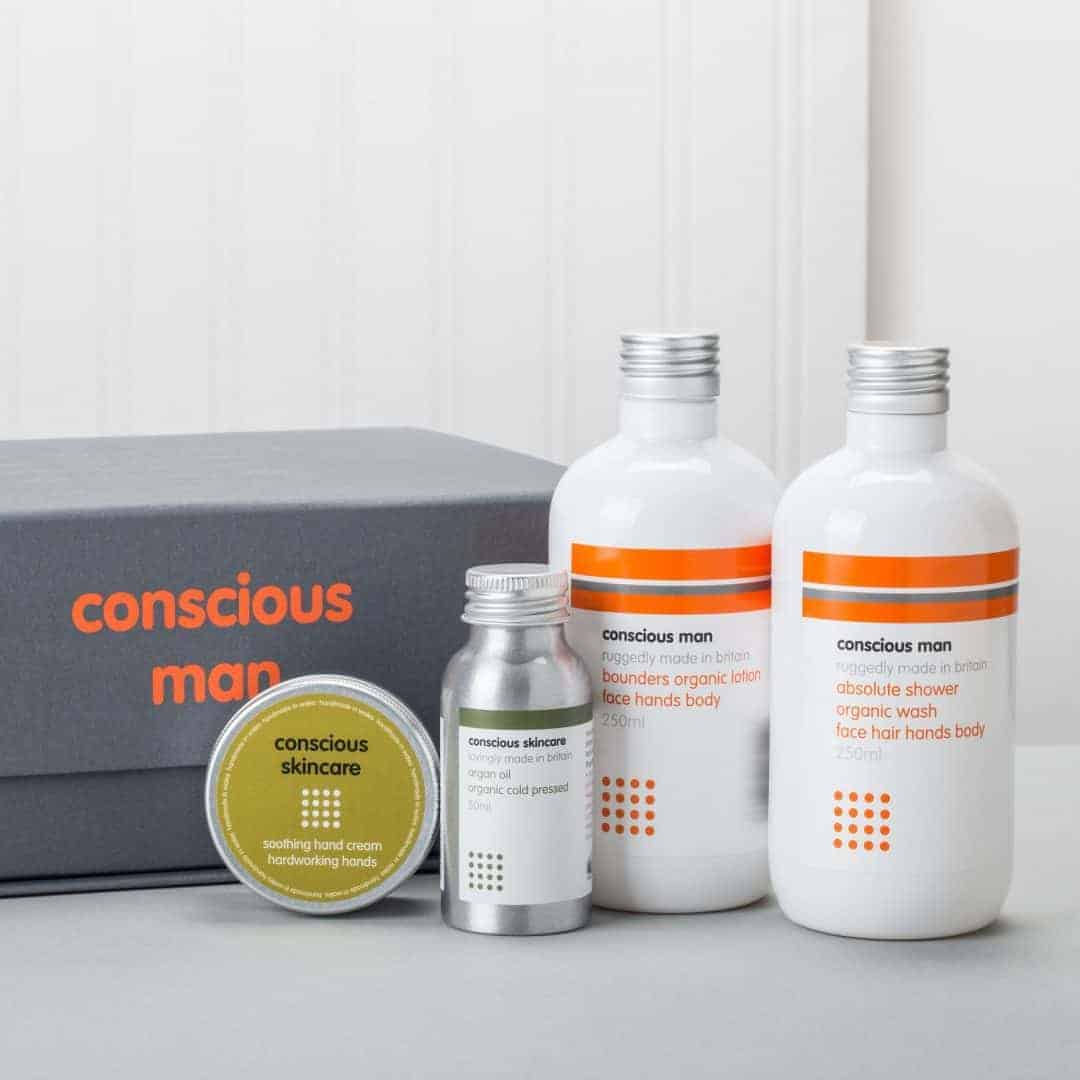 love this stylish organic skincare gift box for men made in wales by conscious skincare. click through for more unique fathers day gift ideas he'll love
