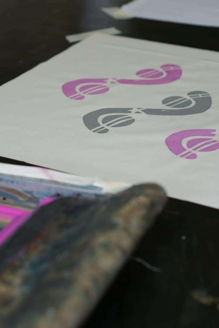 how to screenprint - click through for easy step by step DIY tutorial to learn screen printing with Mr Wingate in London - how to turn your sketches into stencils, choosing colours and creating the finished screen print design #screenprint #howtoscreenprint #workshop #frombritainwithlove #learntoscreenprint