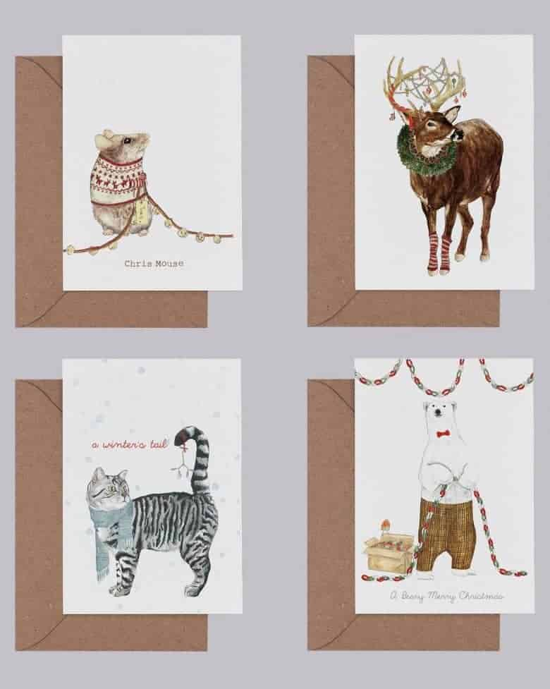 handmade christmas cards featuring animal illustrations by mr peebles mouse, reindeer, polar bear and cat #handmade #christmascards #illustration #animals #mouse