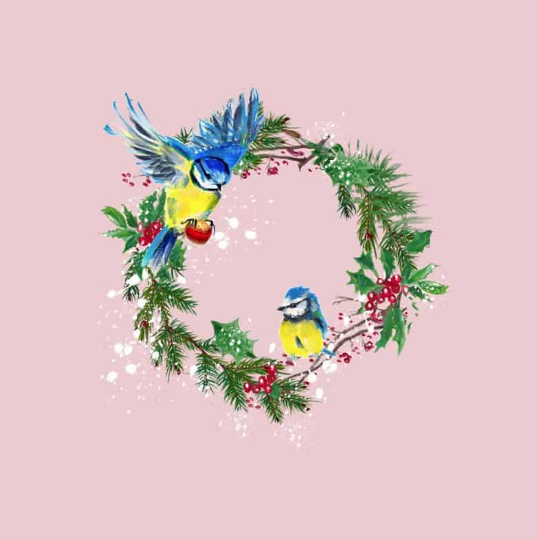 Blue tits christmas wreath card by