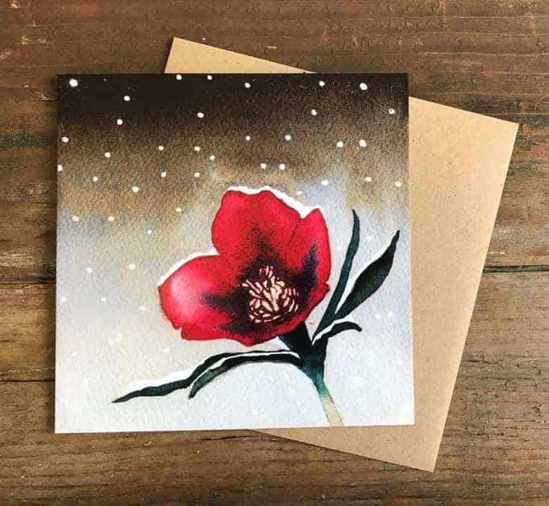 handmade christmas cards hellebore red christmas rose watercolour in the snow #handmade #christmascards #watercolour #red #hellebore