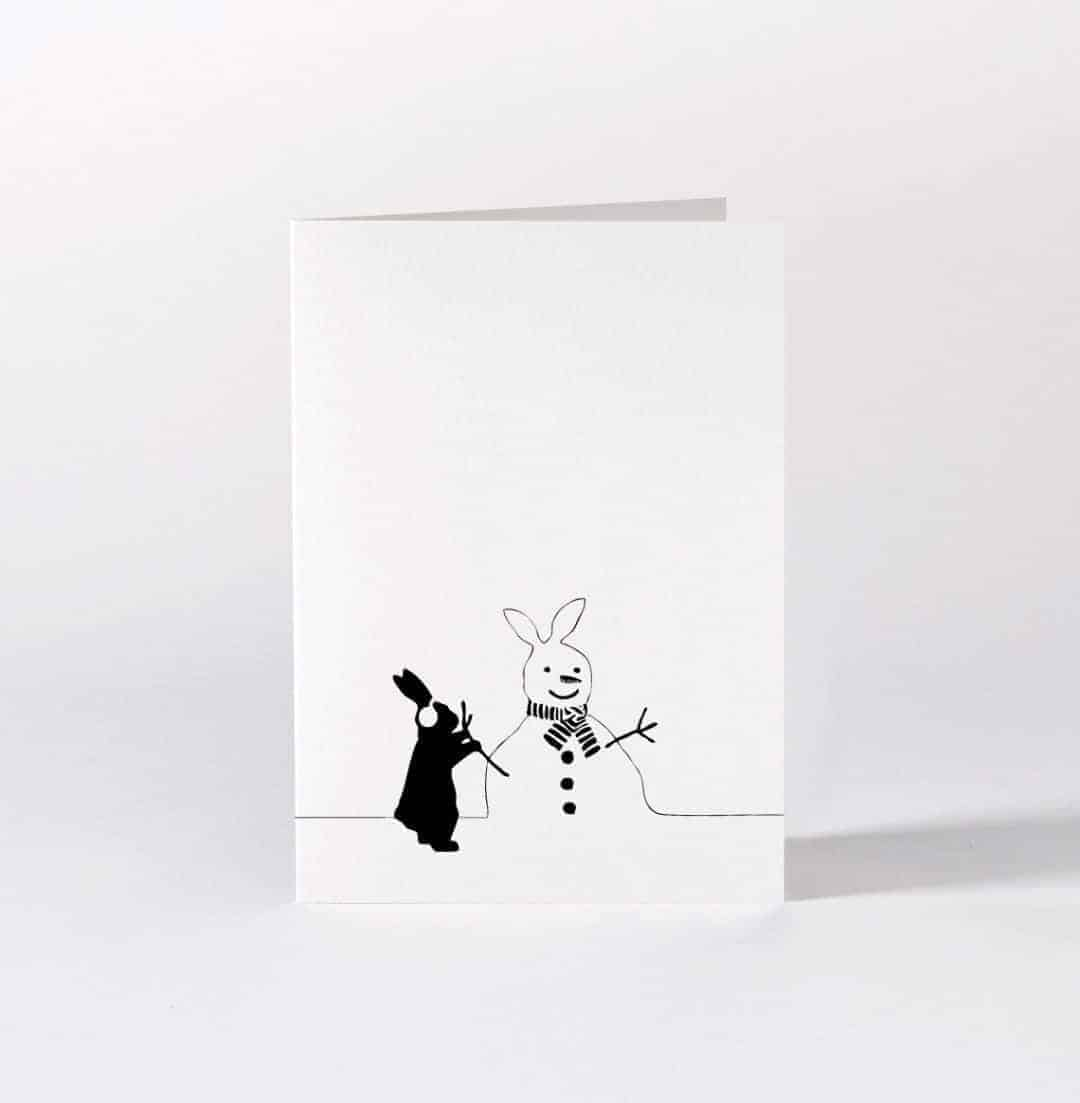 love this black and white bunny with snowman christmas card by HAM