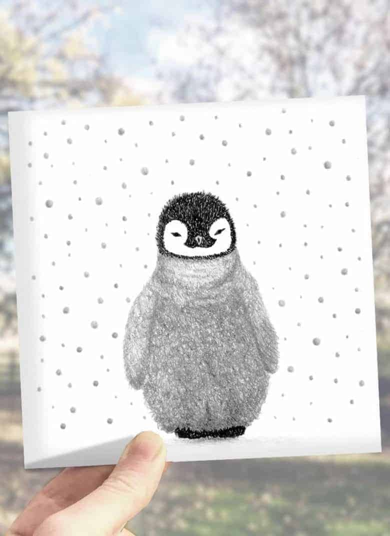 Love this handmade christmas card with a hand drawn penguin illustration design #christmas #cards #handmade #illustration #penguin