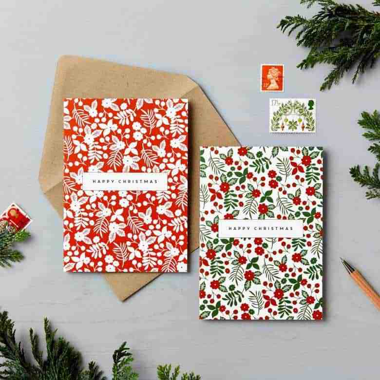 handmade charity christmas cards with pretty floral print taken from hand drawn designs by Lucy Saysido on etsy #handmade #christmascards #floral #print #handdrawn #sustainable #charity