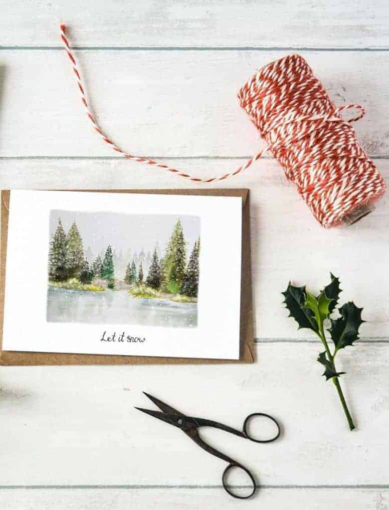 handmade christmas cards snow frozen lake from etsy - just one of my favourite handmade christmas cards #christmas #cards #handmade