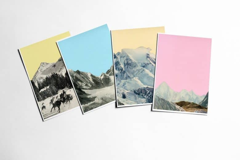 handmade christmas cards snowy mountain scene collages by cassia beck #handmade #christmas #cards #collage #mountains
