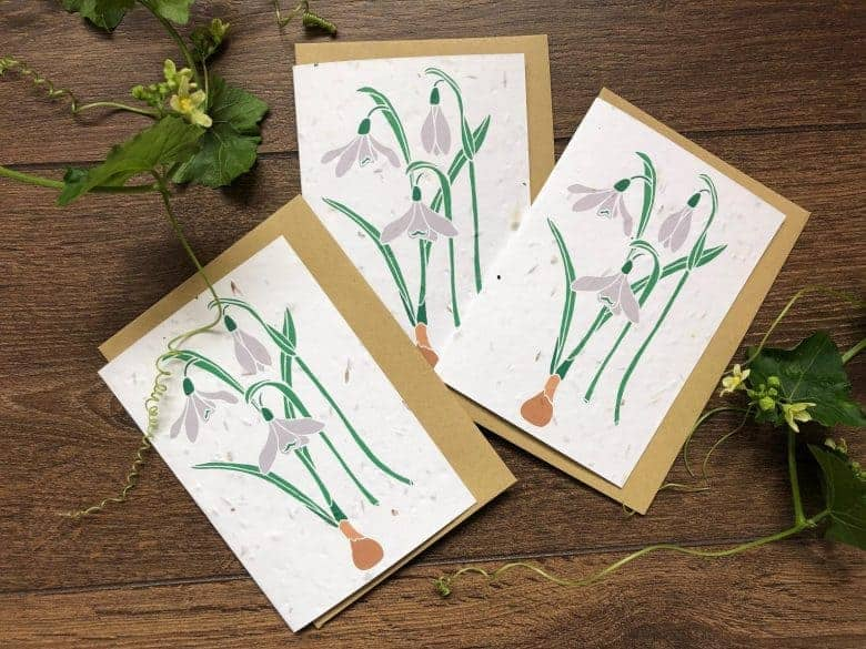 snowdrop plantable seed cards for christmas #christmas #cards #sustainable #handmade