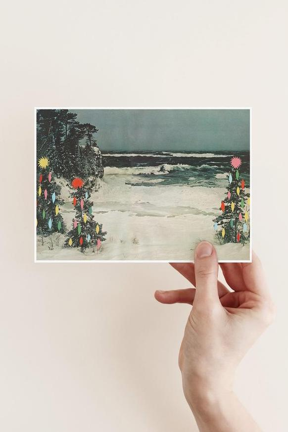 love this handmade christmas card using collage to create a vintage holiday christmas design #handmade #christmas #cards #vintage #seaside