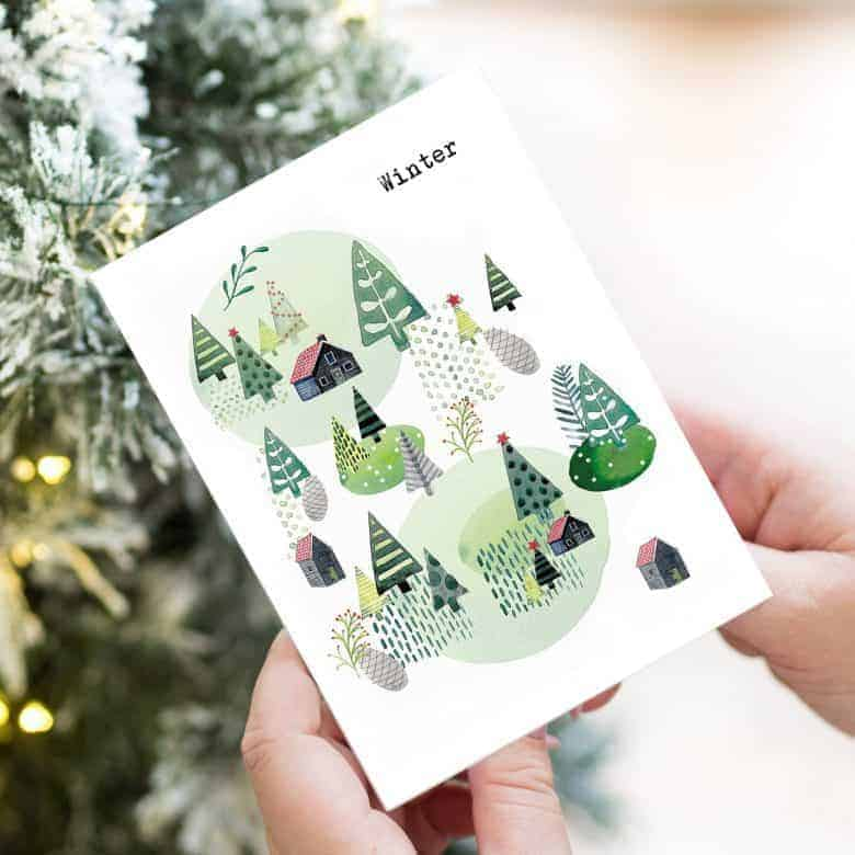 winter watercolour chalets and snowy christmas trees with scandi folk feel taken from helena tyce original hand painted artwork #christmas #cards #winter #handmade #scandi #folkart
