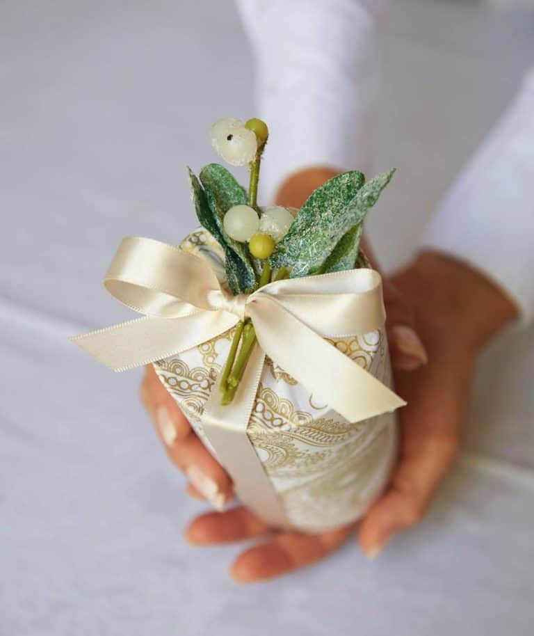 pretty gold and mistletoe wrapping for cylinder or pot shapes with jane means