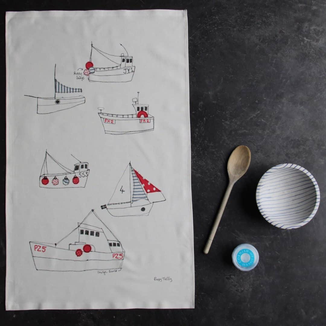 love this boats tea towel on grey kitchen marble worktop made by poppy treffry in cornwall