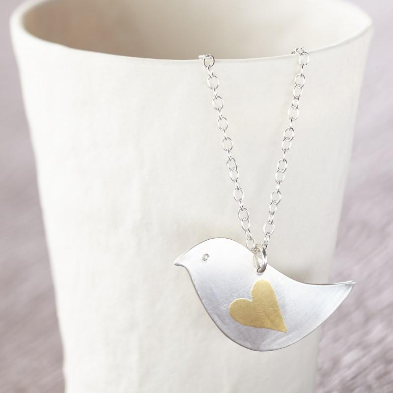 joanne tinley Golden lovebird pendant necklace