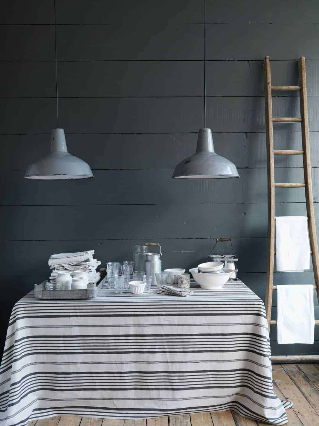 love this cabbages and roses grey stripe linen jolly stripe grey black on natural. Click through for more details and for other coastal and seaside interiors ideas you'll love