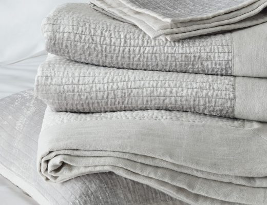 grey linen and velvet quilt and cushion covers the white company