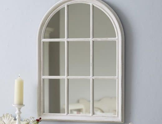 vintage style mirror window shabby chic distressed white paint