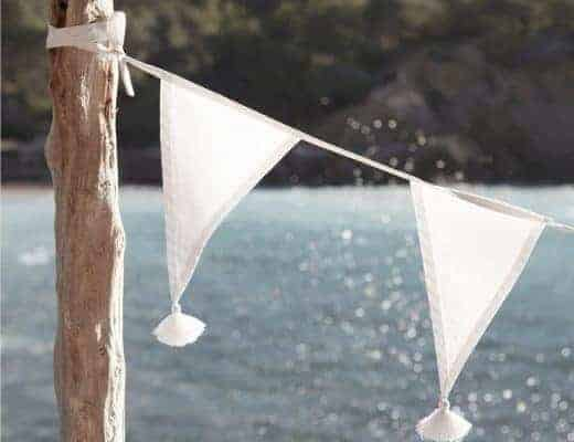 white cotton bunting with tassels from the white company