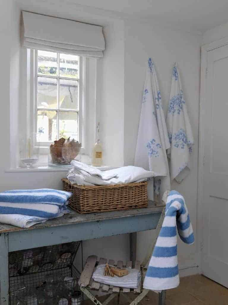 love these seaside blue and white towels by cabbages and roses