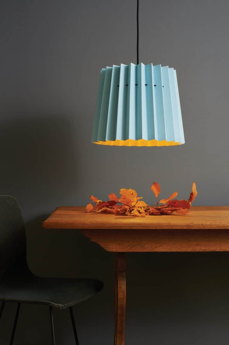 love this pleated pale blue and yellow lamp shade by Lane with Little Greene. Click through for more ideas you'll love