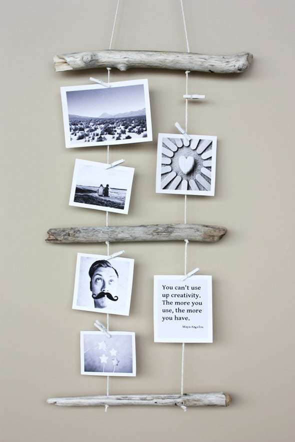 diy driftwood photo display. Click through to find more inspiring driftwood craft ideas you'll love