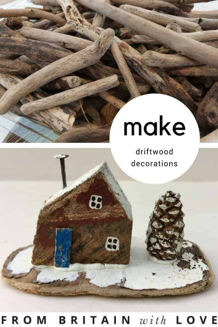 love this simple driftwood house with white roof and chimney. Click through for easy step by steps to making driftwood decorations