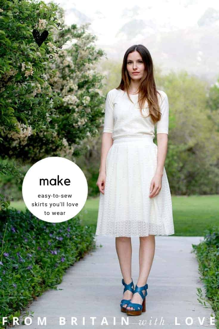 how to sew a skirt love this modern pleated white lace skirt step by step sewing pattern tutorial by cotton and curls.Click through for easy to follow steps and video tutorial to make one yourself. as well as other great ideas for skirts to sew in minutes