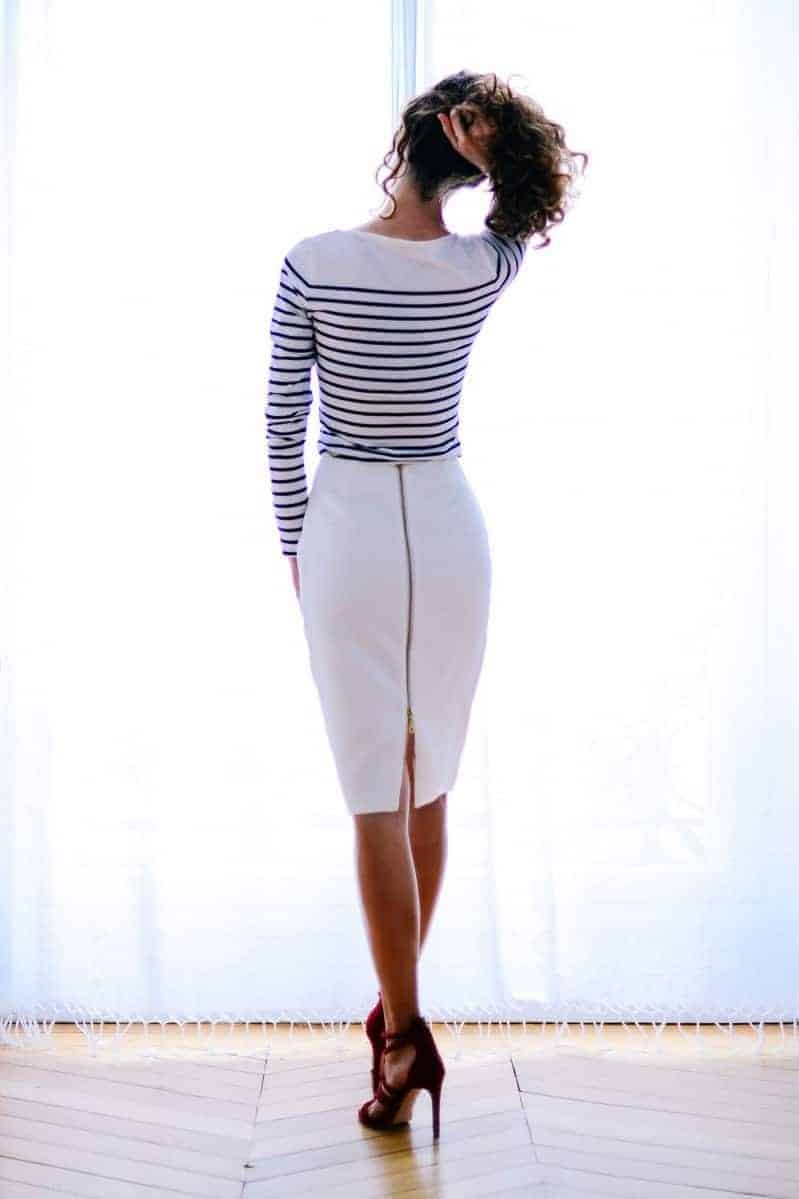 love this white pencil skirt with zip sewing pattern by vanessa pouzet. Click through to find out how to make this and other easy to make and beautiful skirts you'll love to wear